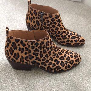 J Crew Mohair Leopard boots